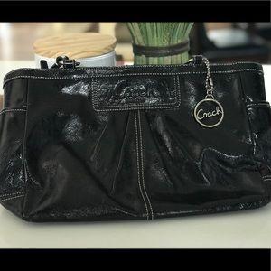 COACH black shiny leather handbag
